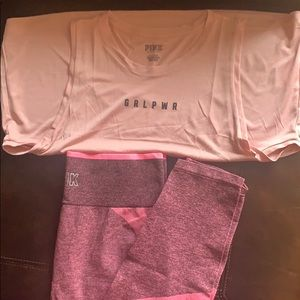 PINK Victoria Secret Seamless Tight and Muscle Tee